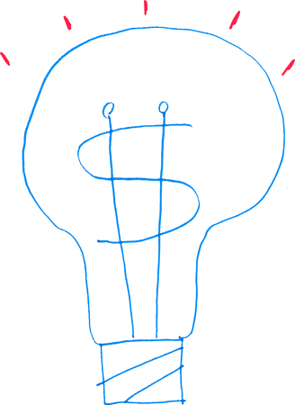 moneymaking: A simple sketch of a lit incandescent light bulb represents a money-making idea or a useful business brainwave