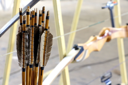 archery: Wooden bows and arrows for archery competition
