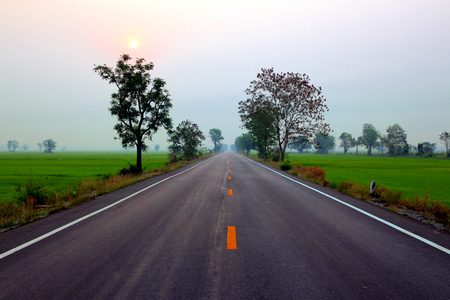 Empty country road in the morning photo