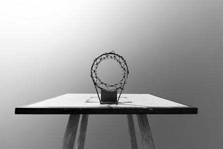 blackwhite: Basketball hoop blackwhite concept Stock Photo