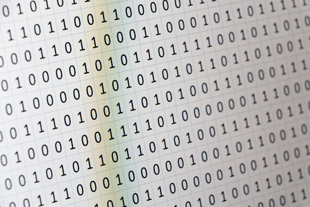 computational: A set of random binaries captured with a camera from a laptop computer screen for digital or business concept background Stock Photo