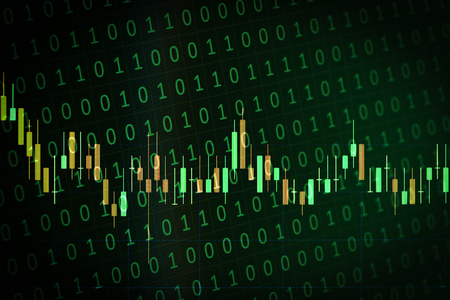 computational: Candlestick graph overlaid on a random binary background captured on a laptop screen as concept art for stock market situations or trading ideas Stock Photo
