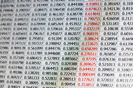 numbers abstract: Random data as numbers on tables captured from a laptop screen with warm color tone and a column of data with numbers colored in red