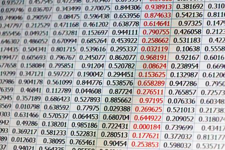 Willekeurige gegevens als getallen op tafels gemaakt van een laptop scherm met een warme kleur en een kolom met gegevens met getallen gekleurd in het rood Stockfoto