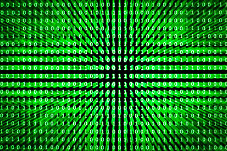 binaries: A set of random binaries captured from an LCD screen created with a spreadsheet program with glowing green letters on a black background with zoom burst technique applied Stock Photo