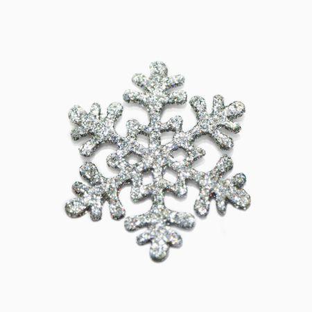 silver background: Silver glitter snowflake on white background Stock Photo
