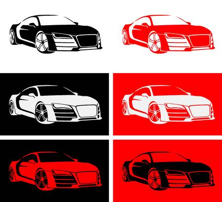 motorized sport: fast car of red, white, black color