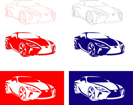 red white blue: fast sport car of red, white, blue color