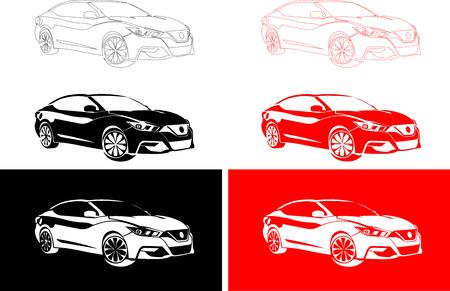 motorized: city ??car of red, black, white, color Illustration