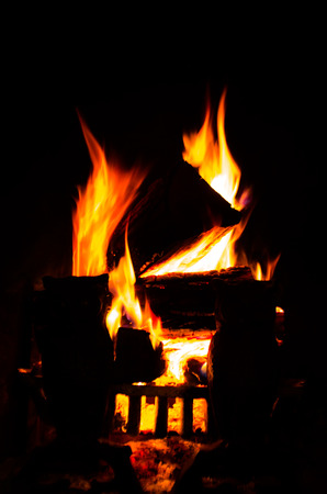 grate: burning fire place Stock Photo