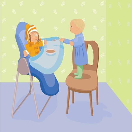 highchair: Girl feeds doll on highchair Illustration
