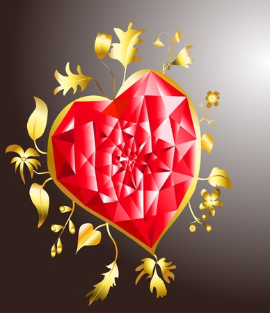Precious ruby heart with floral element Illustration