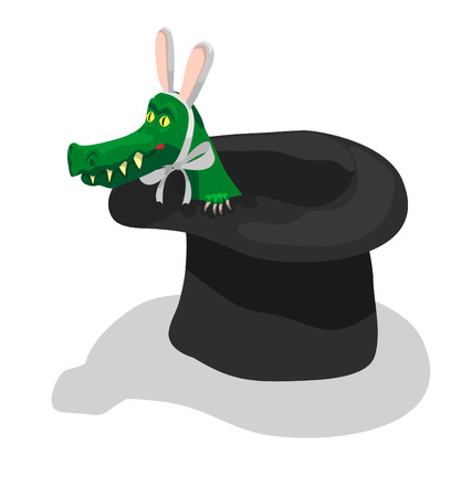 plug hat: Crocodile with rabbit ears getting out from illusionist�s hat Illustration
