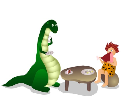 Dino and human have a lunch in prehistoric cafe Illustration