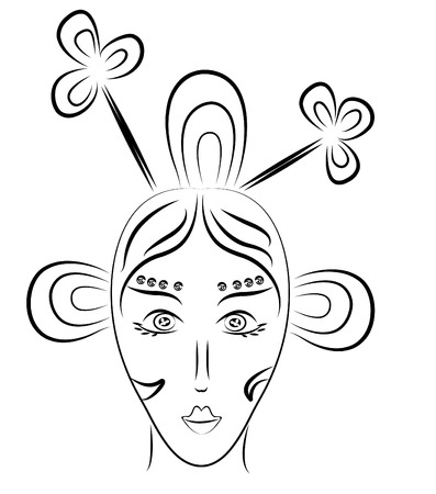 queen of clubs: Stylized woman portrait as queen of clubs Illustration