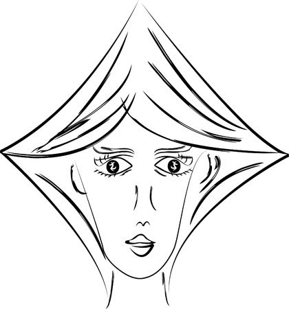 rough draft: Stylized woman portrait as queen of diamonds