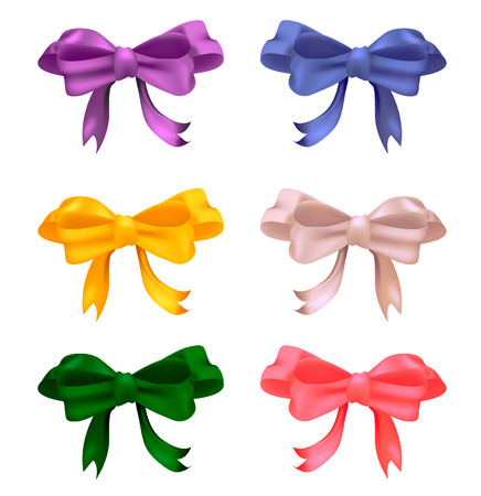 Set of colored with gradient mesh bows