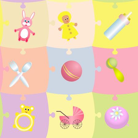 rammelaar: Naadloze mozaïek patroon met babymeisje thema