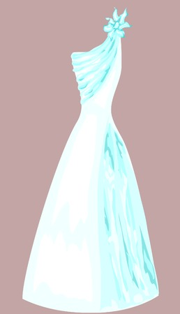 Isolated delicate wedding dress with flower Vector