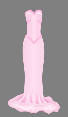 Pink skinny wedding dress with roses Illustration