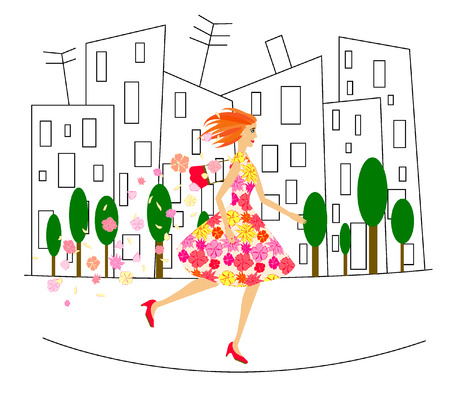 Red-haired girl in dress with flowers is running down the street Ilustrace