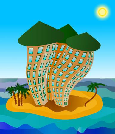 Three multistory hotels on the tiny island
