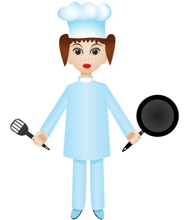 Isolated cartoon chef girl with pan and turner Vector