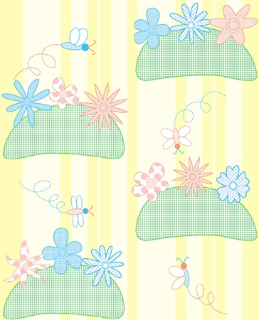 Nice seamless pattern with fabric flowers and butterflies Vector