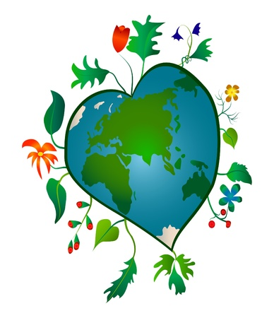 corazones azules: La Tierra en forma de coraz�n con flores y hojas Vectores