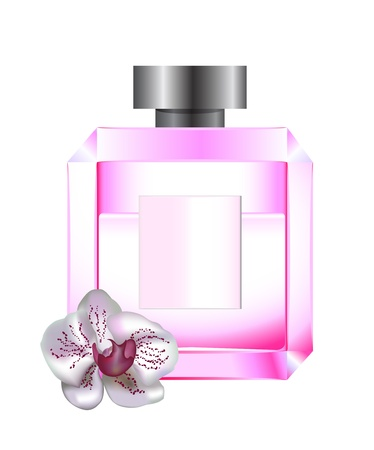 Perfume with white orchid made with gradient mesh