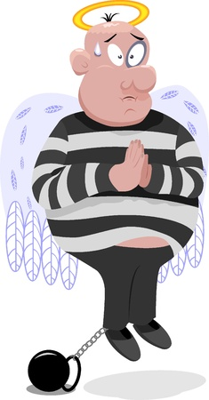 pentimento: Innocenti penale con le ali e nimbus Vettoriali