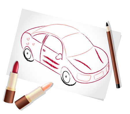 Girl car painted with lipsticks and pencil Vector