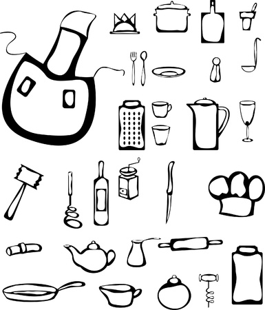 Set of kitchen stuff in doodle style  Illustration