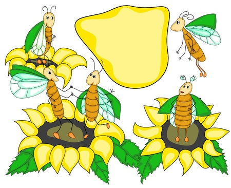 funny bugs and sunflowers in simple style