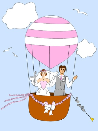 Bride and groom on the balloon simple drawing Vector