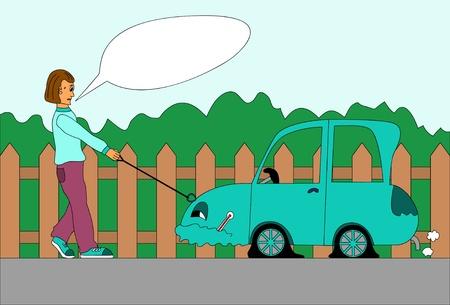 repair shop: Hombre tirando el coche al taller de reparaciones