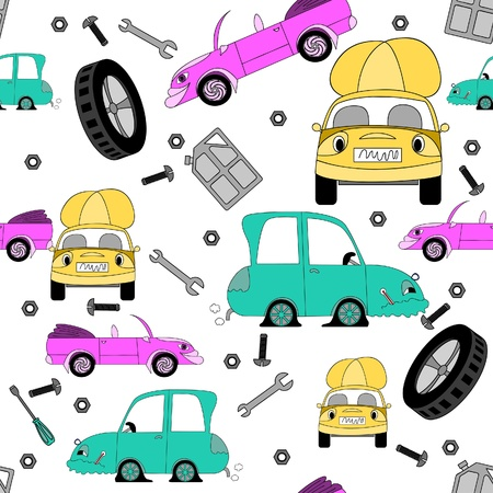 Seamless pattern with cartoon cars and tools on white background