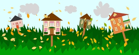 siding: Banner with four houses as signs on autumn background