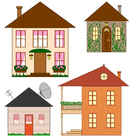 Four houses made in simple style