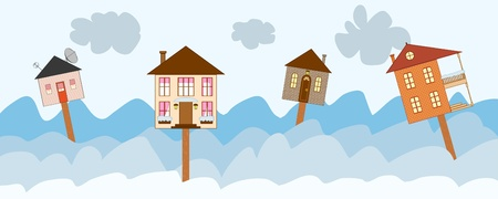Banner with four houses as signs on winter background Illustration
