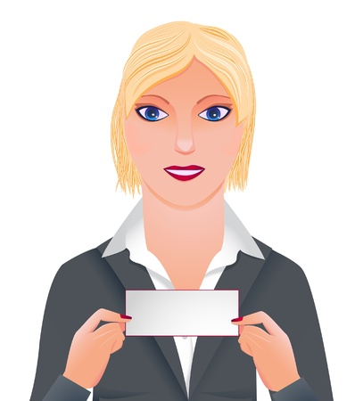 userpic: Businesswoman showing card with place for text Illustration
