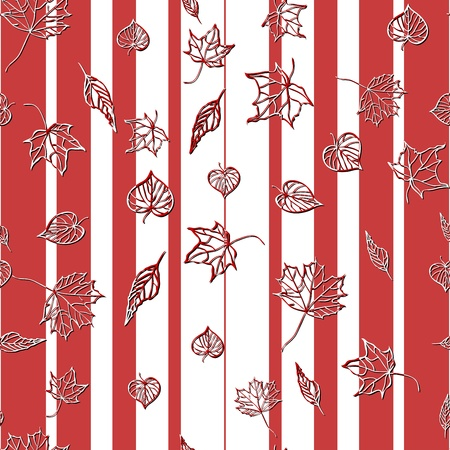 leafage: Seamless pattern with abstract leaves on the red and white background