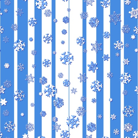 Seamless pattern with abstract snowflakes on the blue and white background