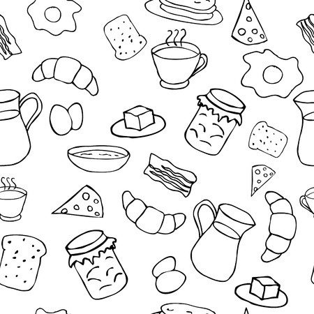 Breakfast seamless pattern in doodle style Stock Vector - 11216020