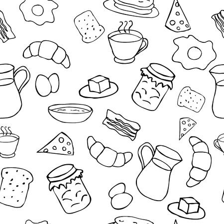Breakfast seamless pattern in doodle style Illustration