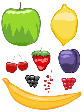 sappy: Juicy abstract icons of fruits and berries Illustration