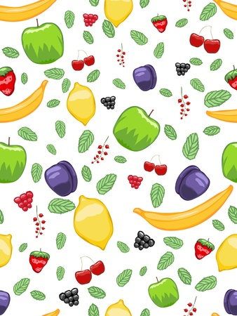 Juicy abstract seamless pattern with fruits and fresh mint Illustration