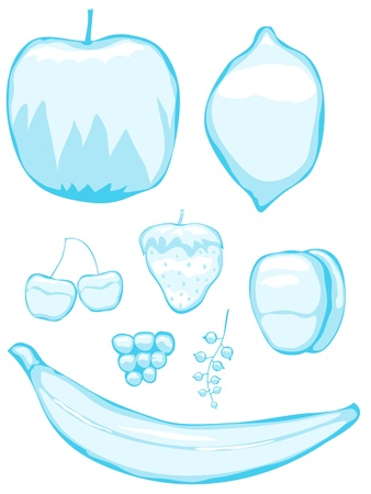 winter cherry: Set of ice figures. Winter fruits and berries. Illustration
