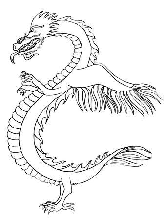 Stylized black and white dragon  Vector