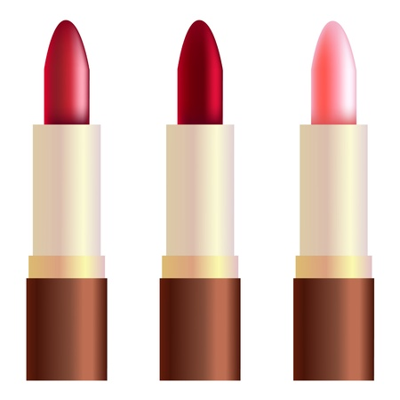 rouge: Rouge, rose, and burgundy lipsticks. Gradient mesh.